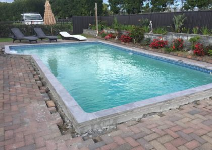 Green pool after clean and new copings