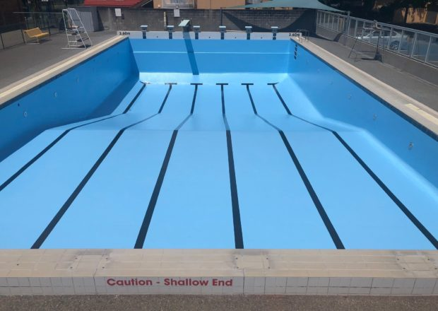 School pool after re-painting and renovation