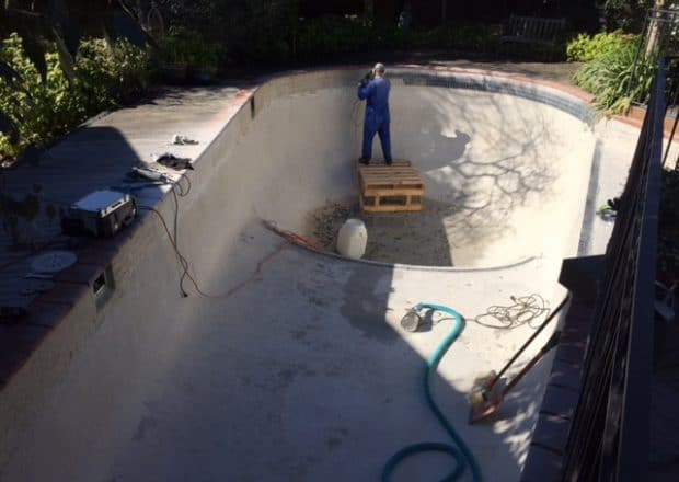 Concrete pool before new tile