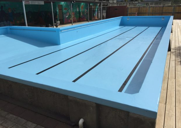 Newly painted school pool in Auckland