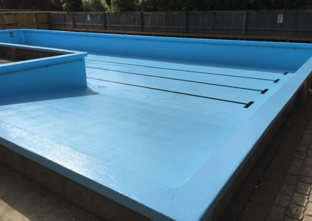 Newly painted school pool