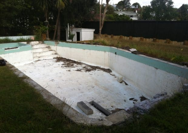 Swimming pool before renovation and new deck